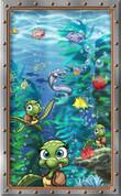 Framed Undersea Cartoon Baby Sea Turtles (Vertical)