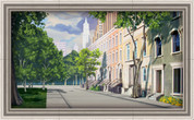 Framed Big City Sidewalk Scene