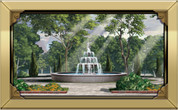 Framed Big City Fountain (Brass Frame)