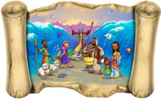 Moses Parts the Red Sea (Version 2) - Bible Scroll