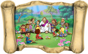 Jesus and the Children (Version 2) - Bible Scroll