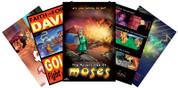 Set includes 5 Bible Stories!  David & Goliath Adam & Eve Daniel & The Lion's Den Moses/The Ten Commandments Noah's Ark