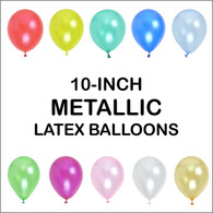 10 Inch Metallic Latex Balloons (5 ct) - 10 colors