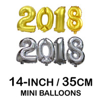 "Mini 14"" Number Balloons (Gold/ Silver 2018)"