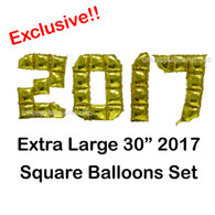 Exclusive! 30-inch DIY Square 2017 Foil Balloon Set