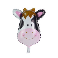 "Mini 14"" Cow Head Cartoon Animal Balloon"