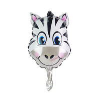 "Mini 14"" Zebra Head Cartoon Animal Balloon"