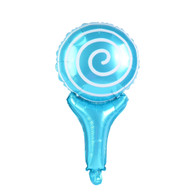 "17"" Lollipop Handheld Stick Balloon Light Blue with Bell"