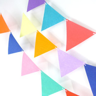 Pre-cut Felt  Triangle Candy Color Flag Garland (15 / 30 flags)