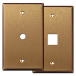 Satin Bronze Cable & Phone Jack Cover Plates