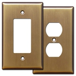 Antique Brass Jumbo Switch Cover Plates