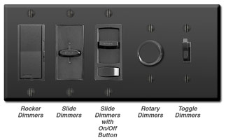 Black Dimmers - Rocker, slide, rotary, toggle