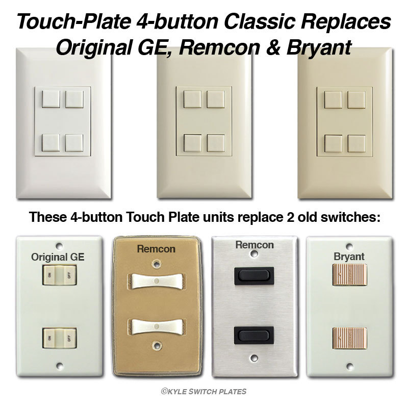 Touch-Plate Classic Low Voltage Light Switches, Classic Switch Plates