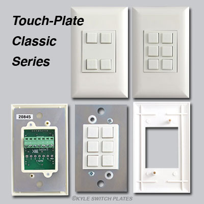 Touch Plate Classic series button switches, controls and bracket.