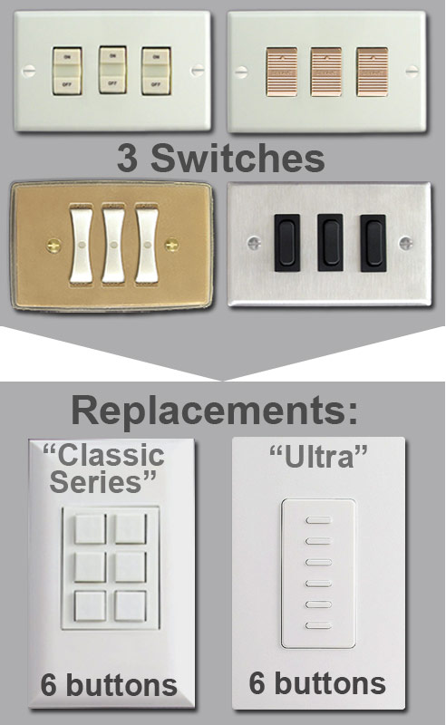 6 Button Touch Plate Units Replace 3 Switches
