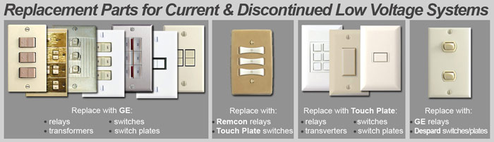 Old Low Voltage Lighting System Switches, Relays, Wall Plates, & Replacement Parts