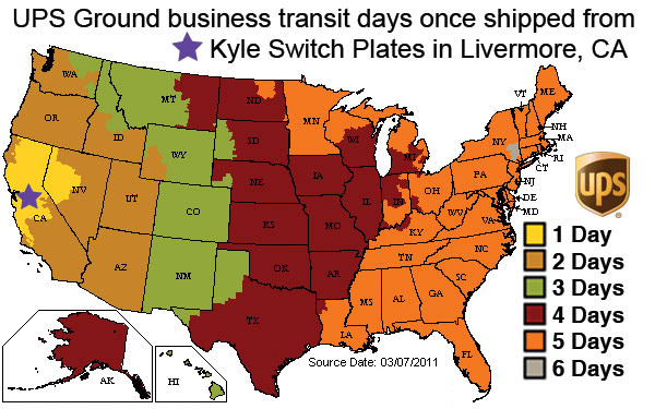 UPS Shipping Times from Kyle Switch Plates