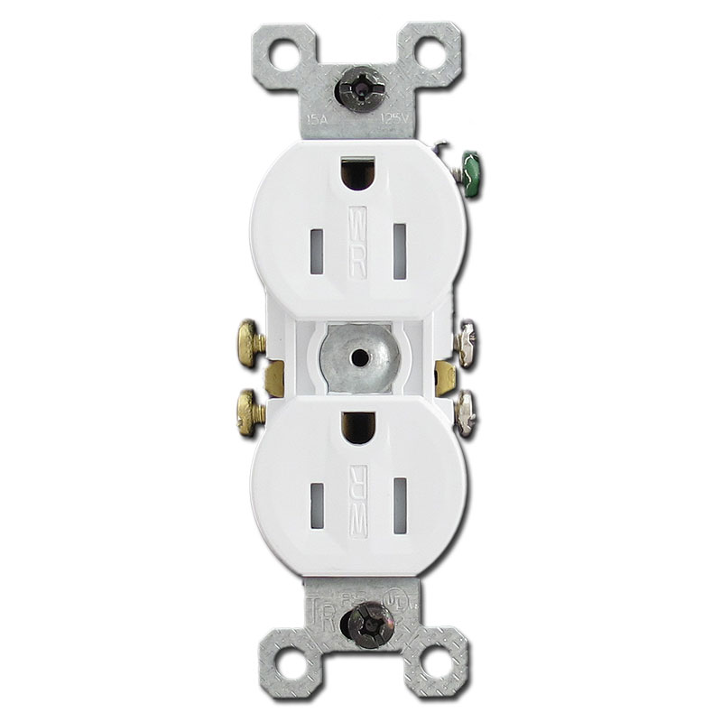 Weather resistant duplex receptacles
