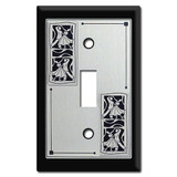Ballroom Dancer Light Switch Plate Cover - 1 Toggle Silver and Black