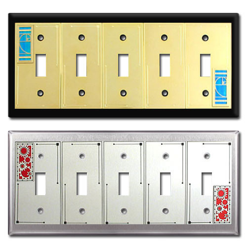 Decorative five toggle wall switch plates in original designs kyle switch plates - Wall switch plates decorative ...