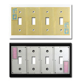 Unique 4-Toggle Switch Plates in Decorative Designs