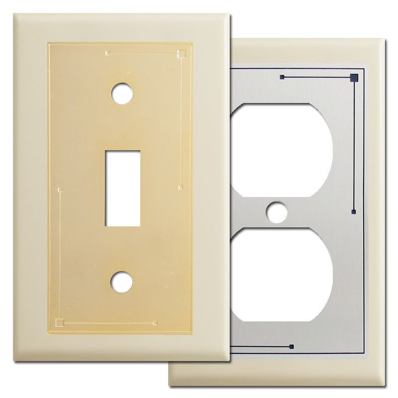 Classic Lines Metal Light Switch Plates In Ivory Kyle Design