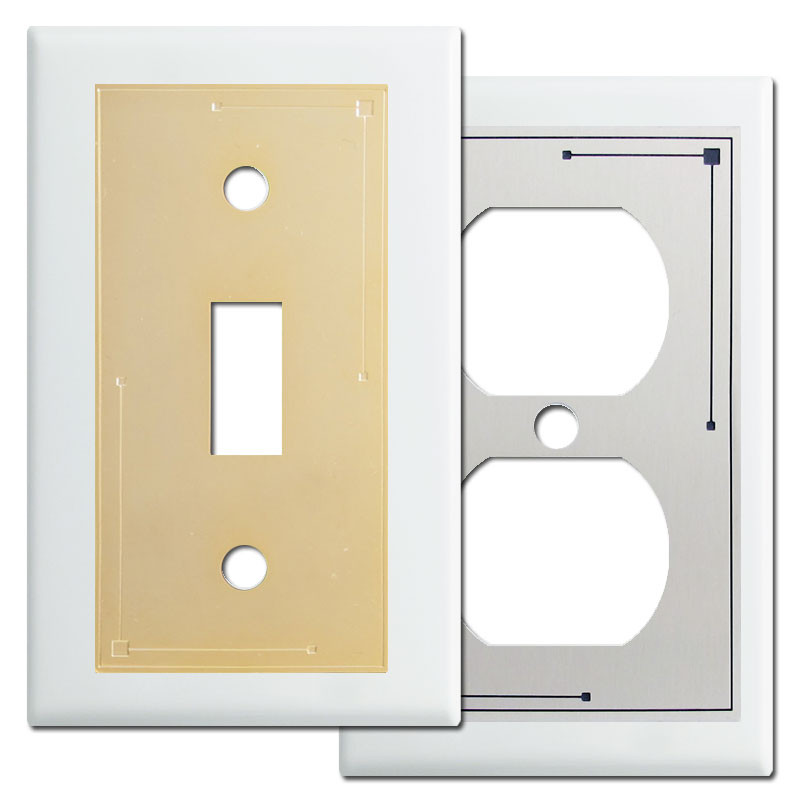 Classic Lines Metal Light Switchplates In White Kyle Design