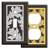 Brown Fall Switch Plates with Oak Leaves