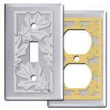 Oak Leaf Switch Plates in Chrome