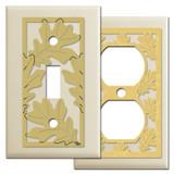 Decorative Oak Leaf Switch Plates - Ivory