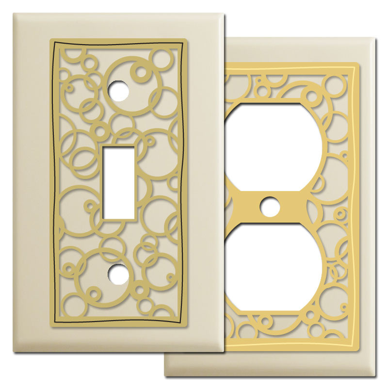 circles abstract wall plate covers in ivory kyle design. Black Bedroom Furniture Sets. Home Design Ideas