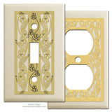 Ivory Decorative Switch Plates with Iris