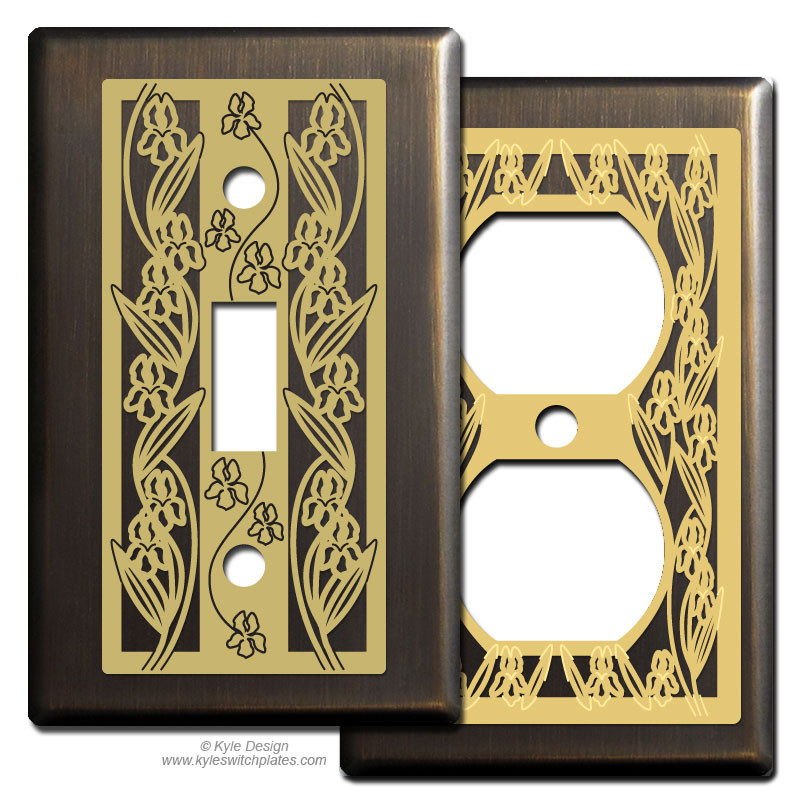 Iris Decorative Switch Plate Covers In Oiled Bronze Kyle