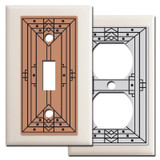 Craftsman Style Light Switch Covers in Light Almond