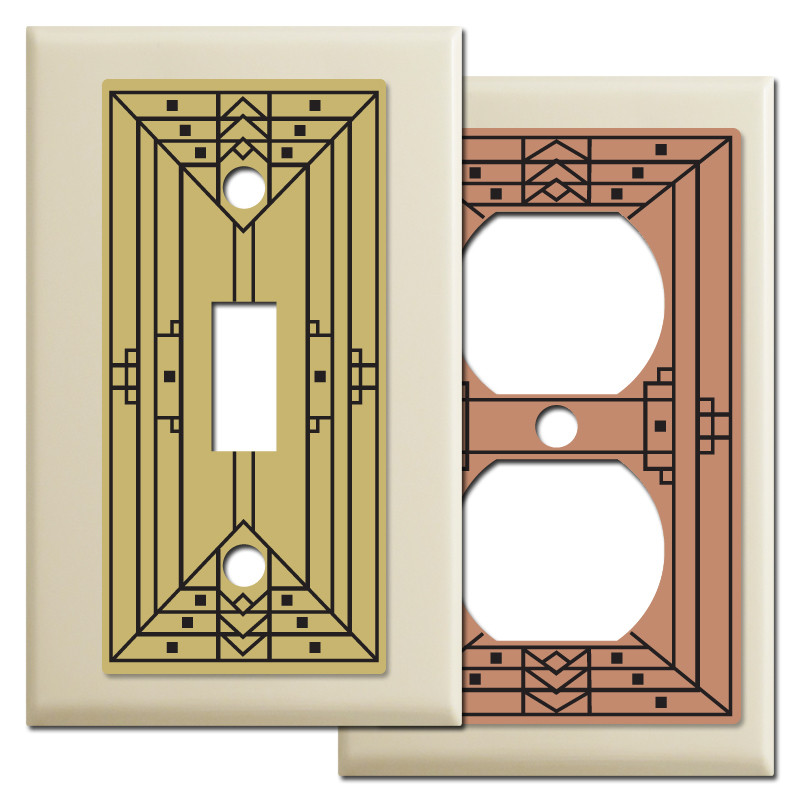 Arts crafts style light switchplates in ivory kyle design for Arts and crafts outlet covers