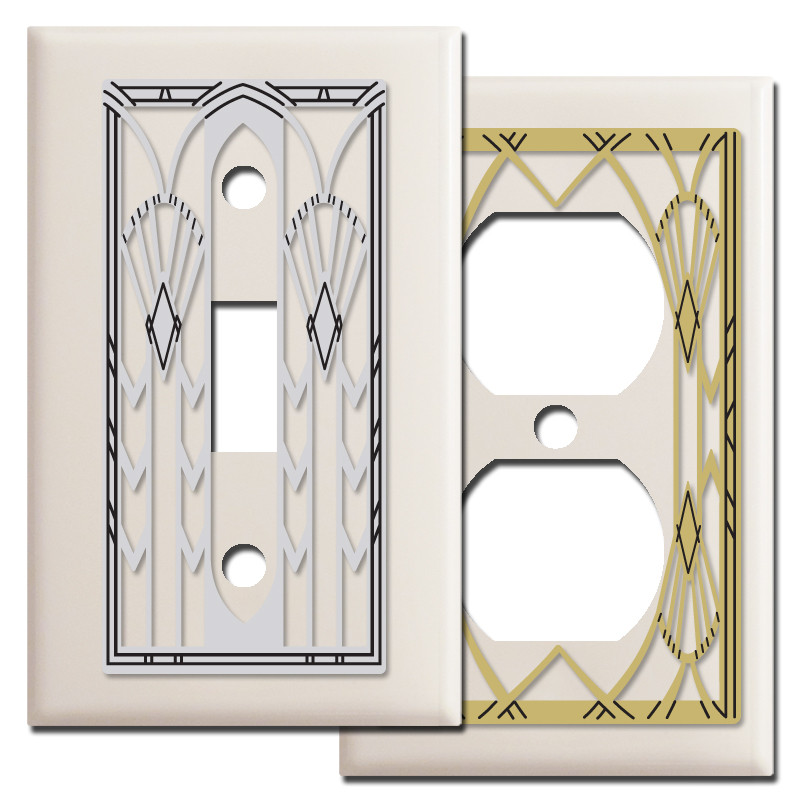 Art Deco Style Light Switchplate Covers In Almond Kyle