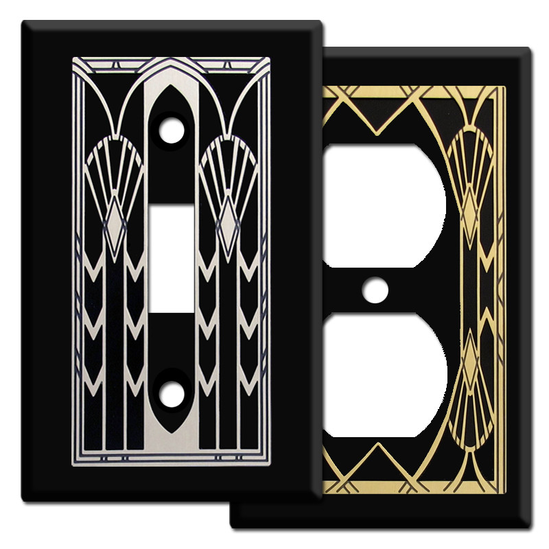 Art deco fans switch plates in black kyle design - Art deco switch plate covers ...
