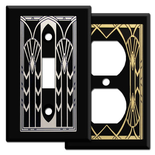 Black Art Deco Style Switch Plates & Outlet Covers