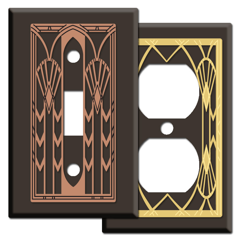 Art Deco Period Light Switch Plates In Brown Kyle Design