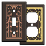Brown Art Deco Style Switch Plates & Outlet Covers