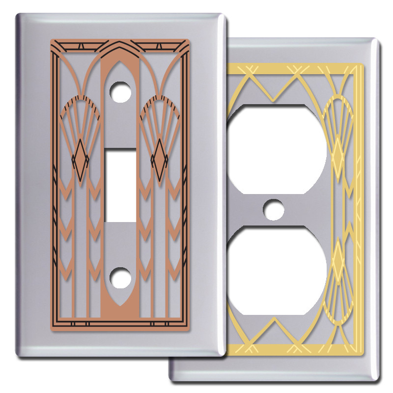 Art Deco Fans Light Switch Covers In Polished Chrome