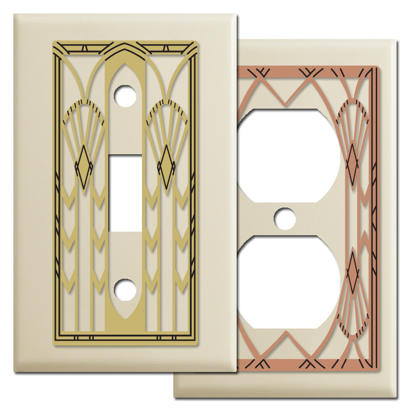 art deco style wall switch plates in ivory kyle design. Black Bedroom Furniture Sets. Home Design Ideas