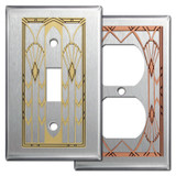 Stainless Steel Art Deco Style Switch Plates & Outlet Covers