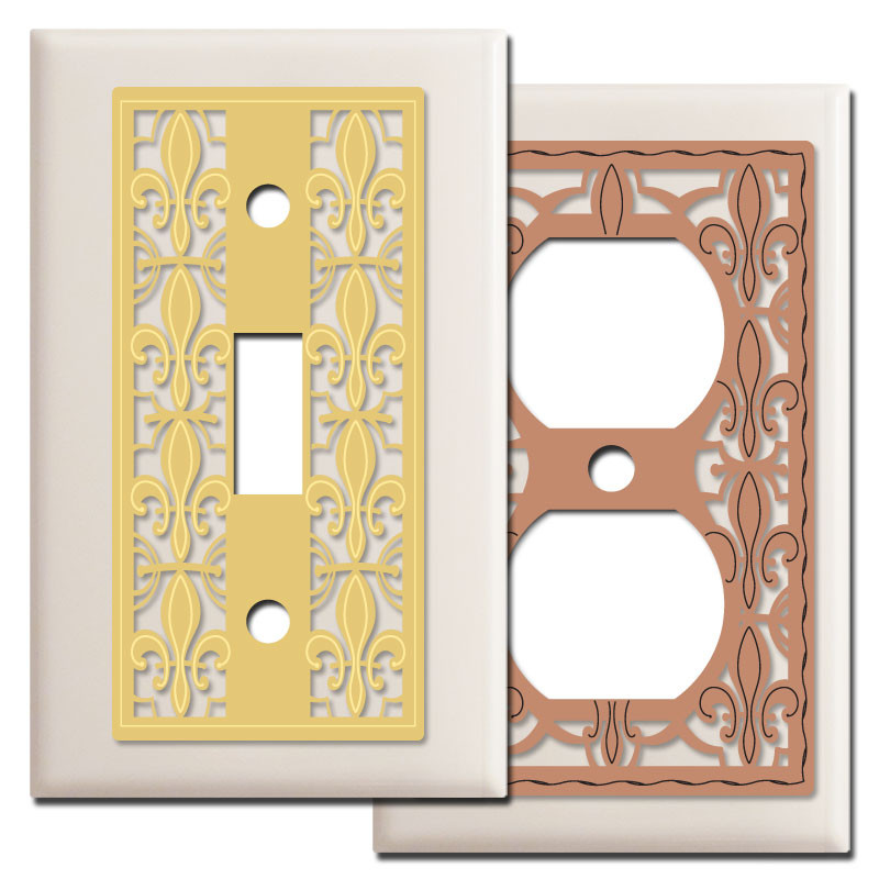 Fleur de lis wall plate covers in light almond kyle design - Wall switch plates decorative ...