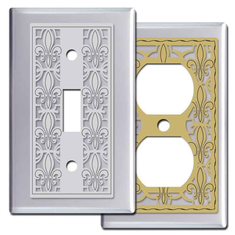 fleur de lis light switch plates in polished chrome kyle. Black Bedroom Furniture Sets. Home Design Ideas
