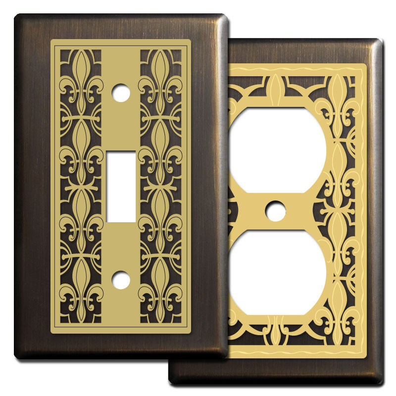 Fleur de lys wall switch plates in oiled bronze kyle design - Wall switch plates decorative ...