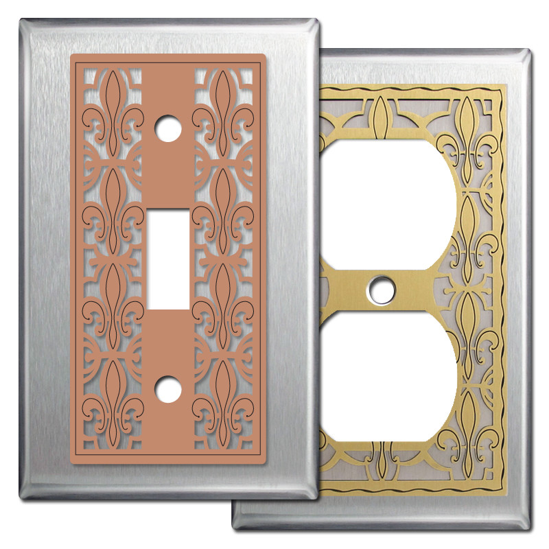 Fleur De Lis French Style Light Switchplates In Stainless