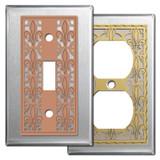 Fleur de Lis Design Switch Plates - Stainless Steel