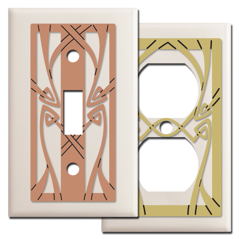 Art nouveau switch plate covers in light almond kyle design - Art deco switch plate covers ...