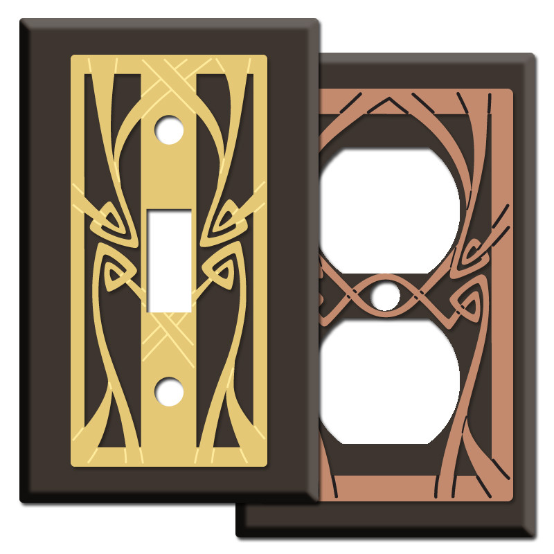 Art nouveau style light switchplate covers in brown kyle design - Art deco switch plate covers ...